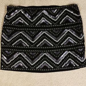 Express Sequin Stretch Lined Mini Skirt Sz L